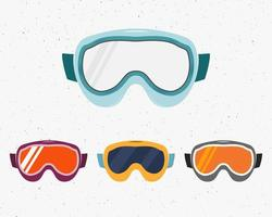 Ensemble de lunettes de snowboard vecteur