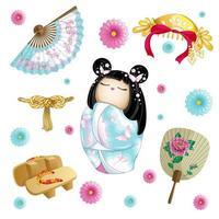 Ensemble japonais avec poupée kokeshi vecteur