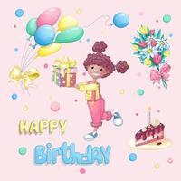 Set d'anniversaire pour enfants vecteur