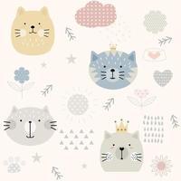 Modèle sans couture mignon chat vintage
