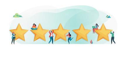 Clients donnant cinq étoiles vecteur