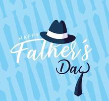 carte de fête des pères heureuse avec chapeau et cravate