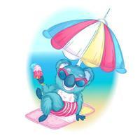 Koala à lunettes de soleil à la plage