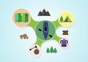 Graphiques de camping et de kayak dans un style rond vecteur