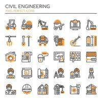 Ensemble d'icônes de génie civil monochrome fine ligne vecteur