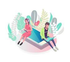 Concept isométrique avec des gens assis sur un téléphone mobile vecteur