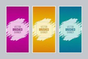 Bannières brossées colorées avec cadres carrés vecteur