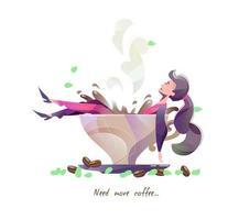 Concept style plat avec femme se trouvant dans une grande tasse de café.