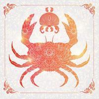 Crabe à motifs sur fond floral vecteur