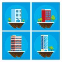 bâtiments, paysage urbain, dans, scène terrain