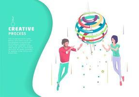 Processus créatif à deux personnes et sphère colorée vecteur