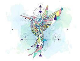 Colibri à motifs entouré de symboles de géométrie
