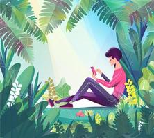 Adolescent assis dans le parc au téléphone et bavarder.
