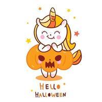 Bande dessinée Kawaii Unicorn avec citrouille pour Halloween vecteur
