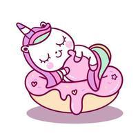 Licorne bébé mignon dormir sur petit gâteau vecteur