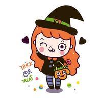 Kawaii Halloween girl cartoon Des bonbons ou un sort vecteur