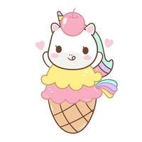 Licorne mignonne dans un cornet de crème glacée