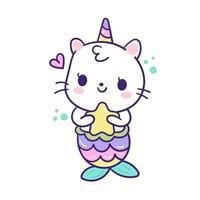 Caricature de sirène Kawaii Cat Unicorn vecteur