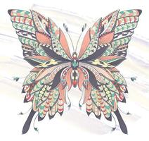 Papillon à motifs sur fond de coup de pinceau grunge vecteur