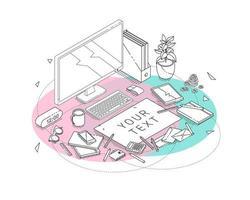 Concept isométrique du lieu de travail avec du matériel informatique et de bureau.