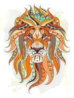 Tête de lion à motifs sur fond aquarelle grunge vecteur