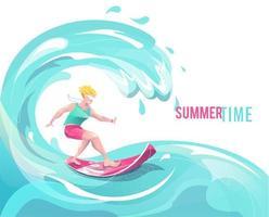 Homme sur une planche de surf sur une vague vecteur