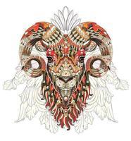 Tête de chèvre à motifs sur fond de décoration florale vecteur