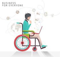 Homme handicapé travaillant sur un ordinateur portable vecteur