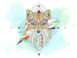Tête du renard à motifs avec éléments géométriques