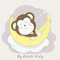 singe bébé mignon à la banane vecteur