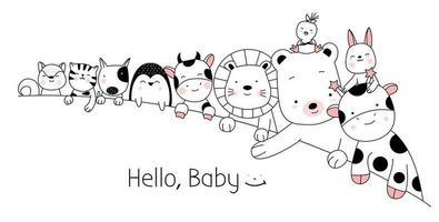 Joli bébé animaux décor vecteur