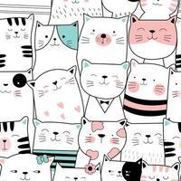 dessin animé mignon bébé chat - modèle sans couture vecteur
