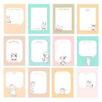 notes mignonnes avec des bébés animaux vecteur