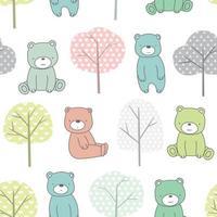 Arbres et bébé ours cartoon - modèle sans couture vecteur