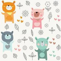 Bande dessinée printemps bébé ours - modèle sans couture vecteur
