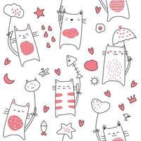 Caricature de chat bébé - modèle sans couture vecteur