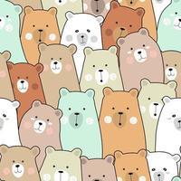 Caricature de bébé ours coloré - modèle sans couture vecteur