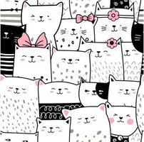Caricature de chat bébé noir et blanc - modèle sans couture vecteur