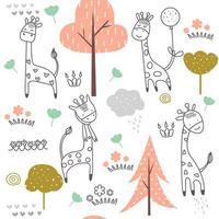 Caricature de bébé girafe - modèle sans couture vecteur