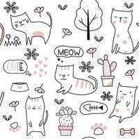 Caricature de cactus et bébé chat - modèle sans couture vecteur