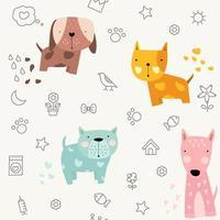 caricature de chien mignon bébé - modèle sans couture