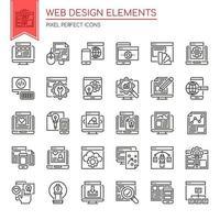 Ensemble d'éléments de conception Web mince ligne noir et blanc vecteur