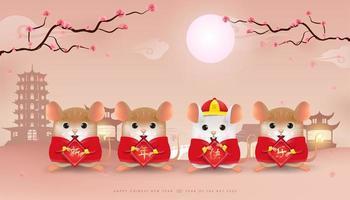 Quatre petits rats tenant une pancarte de joyeux nouvel an chinois