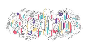 Concept isométrique avec des lettres minces épelant le mot créativité