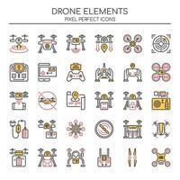 Ensemble d'éléments de drone Duotone Thin Line vecteur