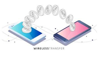 Pièces transférées entre deux téléphones mobiles vecteur