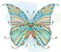 Papillon à motifs coloré sur fond grunge vecteur