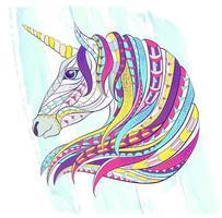 Tête de la Licorne à motifs sur fond de coup de pinceau vecteur