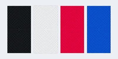 Bannières vierges colorées avec des textures circulaires en pointillés vecteur