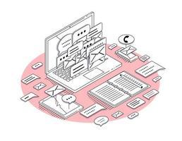 Concept isométrique de matériel de bureau et d'ordinateur portable dans le style de contour vecteur